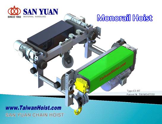 SAN YUAN Monorail Low Headroom wire rope hoist