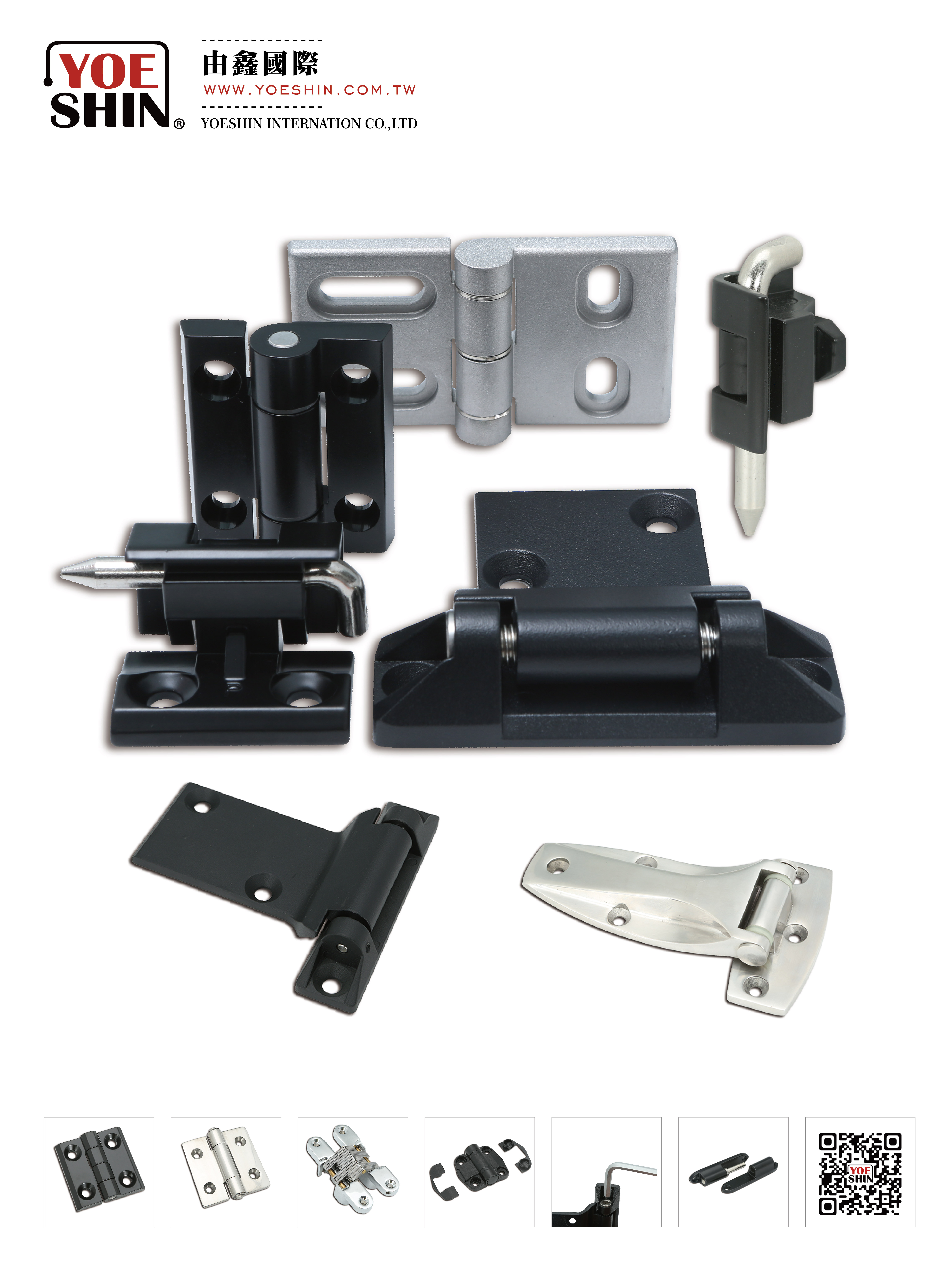 screw-fixed hinges, detachable hinges, exterior hinges and concealed hinges, Lift-off hinges, Constant torque hinge, position control hinge, stainless steel SUS316 hinges, concealed hinges, damping hinges, positioning hinges, Freezer hinges, heavy duty hinges, stainless steel hinges, plastic hinges, zinc alloy hinges, aluminum alloy hinges and other industrial hinges